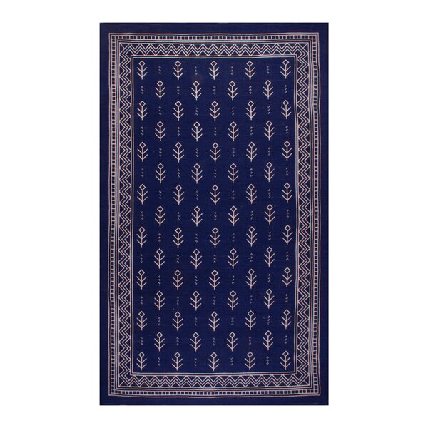 Azaria Royal Club 100% Cotton Hand-Woven Blue Area Rug by Bungalow Rose